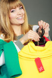 Woman holding discount label. Sale and retail. Stock Photography