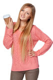 Woman holding disposable paper cup Stock Photography