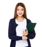 Woman holding document Stock Images