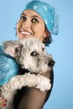 Woman holding dog. Stock Photos