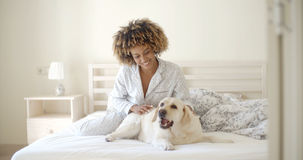 Woman Is Holding A Dog On A Bed Royalty Free Stock Images