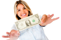Woman holding a dollar Stock Images