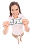 Woman holding dollar bill Royalty Free Stock Photo