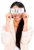 Woman holding a dollar bill Royalty Free Stock Photos