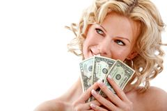 Woman holding dollar bills Royalty Free Stock Images
