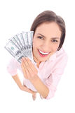 Woman holding dollar bills Stock Image
