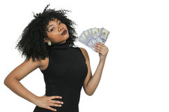 Woman Holding 100 Dollar Bills stock photos