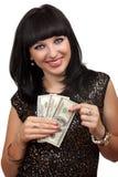 Woman holding dollar bills Royalty Free Stock Photography