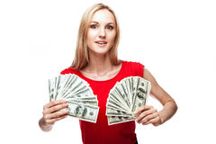 Woman holding dollar bills Stock Photos