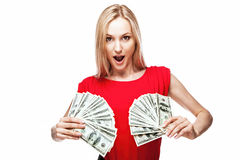 Woman holding dollar bills Royalty Free Stock Image