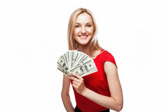 Woman holding dollar bills Stock Images
