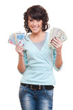 Woman holding dollars and euro Royalty Free Stock Images