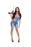 Woman holding drill 1 Royalty Free Stock Photography
