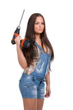 Woman holding drill Royalty Free Stock Images