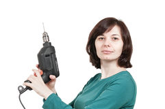 Woman holding a drill Stock Photos