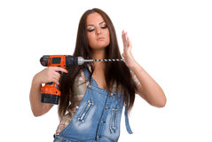 Woman holding drill 3 Stock Photo