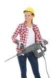 Woman holding drill Royalty Free Stock Photography