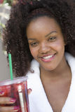 Woman Holding Drink Stock Photography