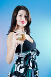 Woman Holding A Drink Stock Images
