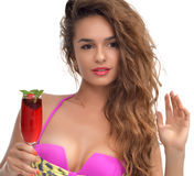 Woman holding drinking red strawberry juice cocktail with mint Royalty Free Stock Photo