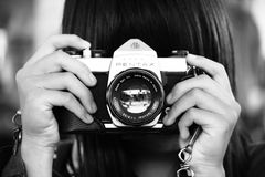 Woman Holding Dslr Camera in Grayscale Photography Stock Images