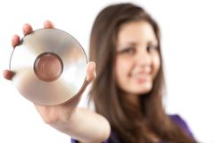 Woman holding dvd Stock Photos