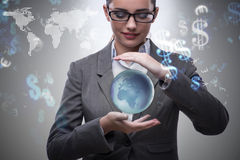 The woman holding earth in business concept Royalty Free Stock Photo