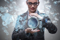 The woman holding earth in business concept Royalty Free Stock Photography