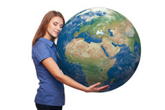Woman holding earth globe Royalty Free Stock Photography