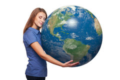 Woman holding earth globe Royalty Free Stock Photos