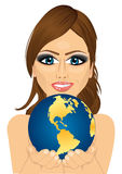 Woman holding earth globe with her hands royalty free illustration