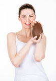 Woman holding easter egg Stock Photos