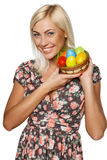 Woman holding Easter eggs Royalty Free Stock Image