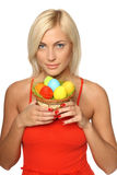 Woman holding Easter eggs Stock Image