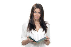 Woman holding ebook electronic tablet touch pad Royalty Free Stock Photo