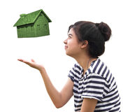 Woman holding eco house,sustainable concept. Isolated on white Stock Images