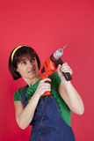 Woman holding a electric drill Stock Photography