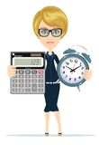 Woman holding an electronic calculator and alarm clock Royalty Free Stock Images