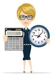 Woman holding an electronic calculator and clock Royalty Free Stock Photography