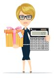 Woman holding an electronic calculator and gift box Stock Photos