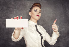 Woman holding empty banner in her hand Stock Photos