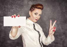 Woman holding empty banner in her hand Stock Image