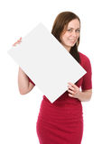 Woman holding an empty billboard Stock Photography