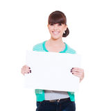 Woman holding empty blank Stock Photography