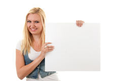 Woman is holding empty board royalty free stock images