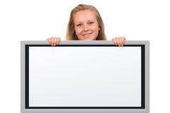 Woman holding an empty board Stock Photo