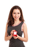 Woman holding empty box for engagement ring Royalty Free Stock Images