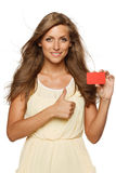 Woman holding empty business carf Royalty Free Stock Images