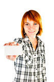 Woman holding empty card Royalty Free Stock Photos