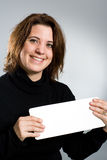 Woman holding empty card Stock Photography